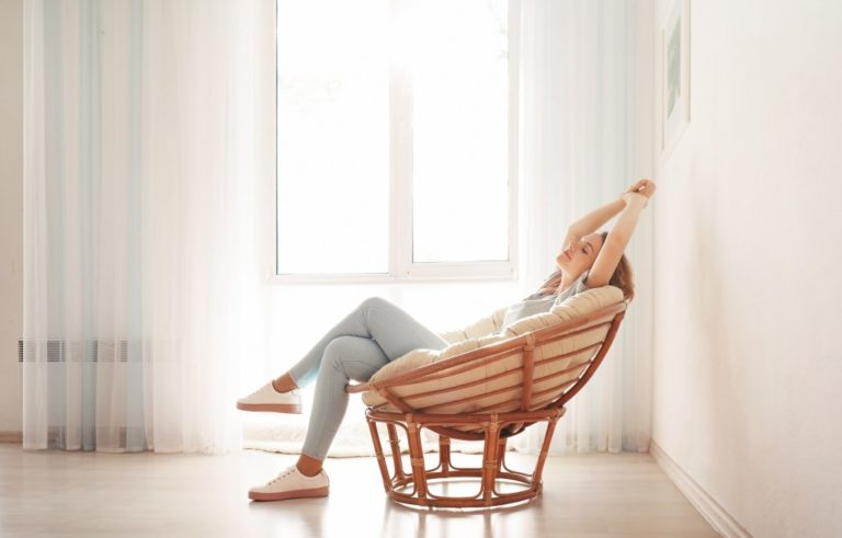 woman relaxing in her home