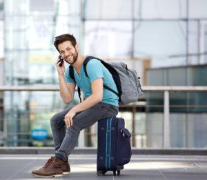 man travelling