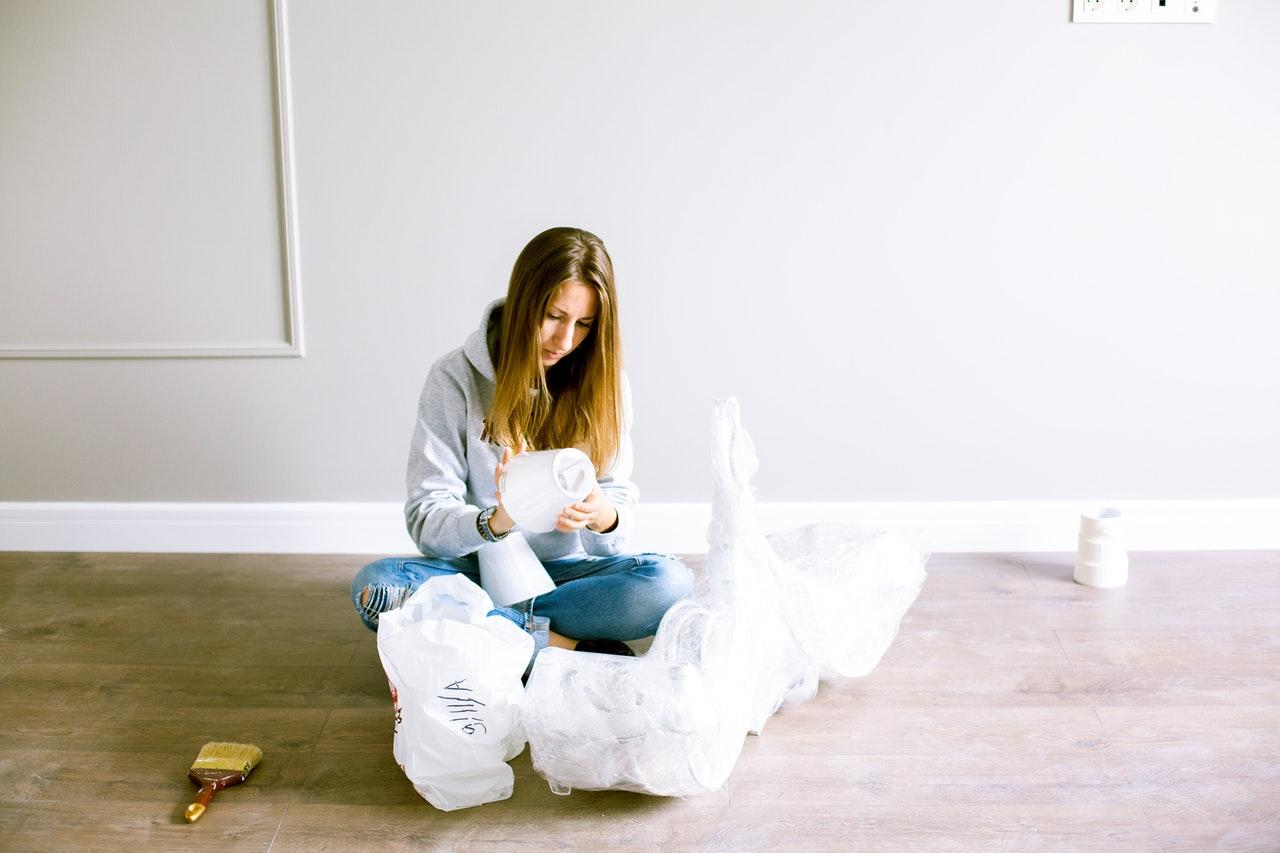 woman preparing for home improvement