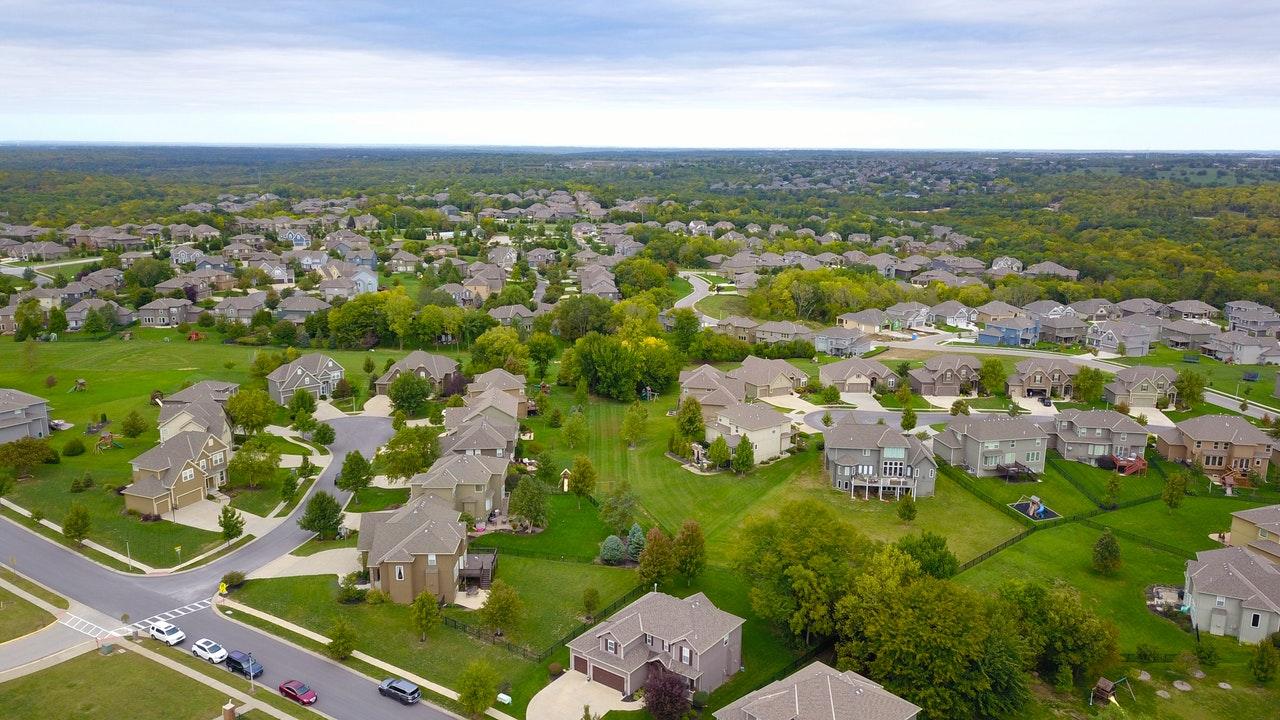 overhead view of suburbs