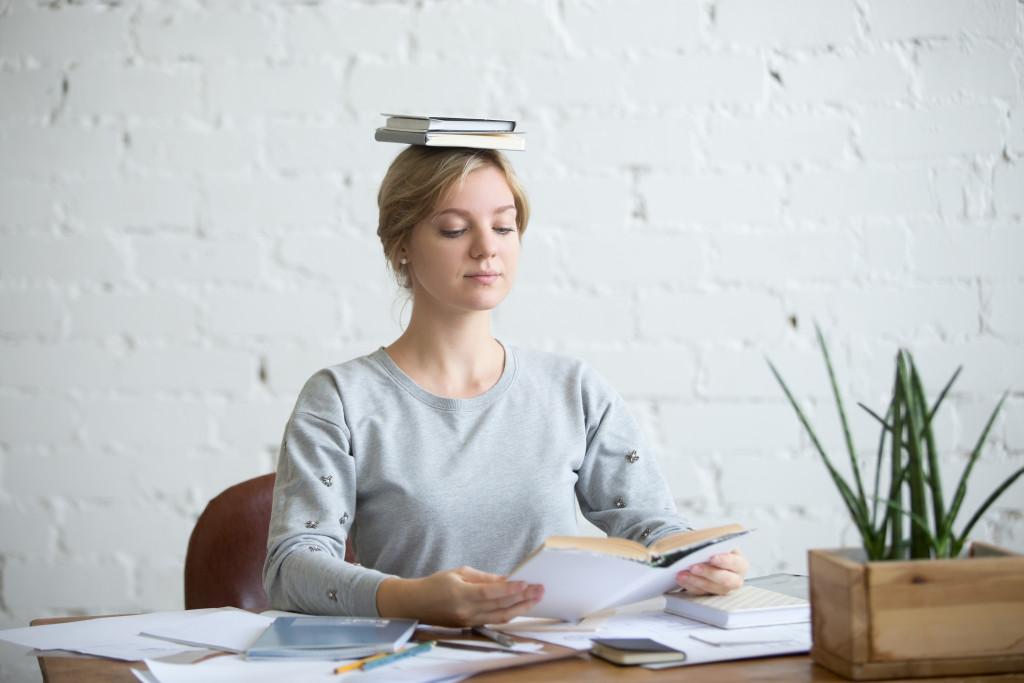 woman correcting posture