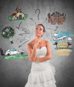 bride thinking about wedding dieas